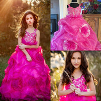 Wholesale v neck wedding dresses ruffle for sale - Group buy 2019 Fuchsia Girls Pageant Dresses V Neck Lace Beaded Crystal Ruffles Tiered Skirts Flower Girls Dress Modest A Line Kids Party Gowns