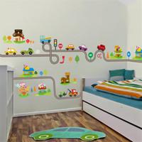 crianças brincam arte em casa venda por atacado-Rodovia carros adesivos de parede para crianças do berçário do bebê sala de jogo de crianças quarto home decor mural art decalques de pvc