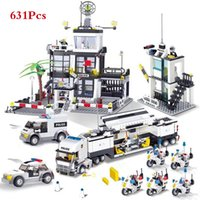 camiones de coches de juguete al por mayor-Ciudad SWAT de la Policía helicóptero del coche camión de bloques huecos fija Ladrillos LegoINGLs Brinquedos Playmobil Juguetes educativos para niños