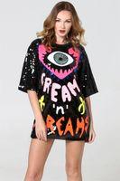 ingrosso abito da donna tshirt-Designer T-shirt da donna con paillettes Abito grande occhi a cuore Modello Moda Donna Abito estivo Abbigliamento casual