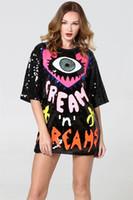 tasarımcılar kadın giyim toptan satış-Tasarımcı Sequins Kadın Tişörtü Elbise Büyük Gözler Kalp Desenli Moda Kadın Yaz Elbise Günlük Giyim içinde