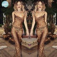 ingrosso vestito coreano del leopardo-Vestiti da partito sexy stampa leopardo Abito lungo estate delle donne Backless coreano chiffon maxi spiaggia abito Abiti 2019