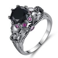 neue punk-styles großhandel-Neue Produkt Originalität Menschliches Skelett Kopf Ring Diamant Farbe Zirkon Ring Frau Punk Stil Ornamente