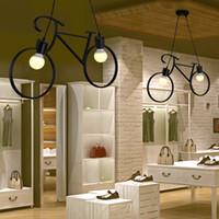 vintage esszimmer kronleuchter groihandel-Vintage Pendelleuchten Retro Nordic Fahrrad Eisen-Leuchter Led E27 hängende Beleuchtung Esszimmer Hängeleuchte Bar Schlafzimmer Deckenleuchte