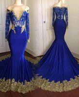 mangas de vestidos de baile de renda azul venda por atacado-Incrível Gold Lace Royal Blue Real Photo Mermaid Prom Vestido manga comprida ver através Lantejoula 2020 Partido Vestidos Formais