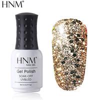 esmaltes gel venda por atacado-HNM 8 ML Diamante UV LED Lâmpada Prego Gel Que Bling Glitter Pintura Gellak Soak Off Semi Permanente Sorte Laca Esmalte Gel Unha Polonês