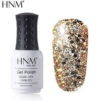 ingrosso immergere la polvere gel 8ml-HNM 8ML Diamante UV LED Lampada Gel per unghie Glitter Glitter Gellak Soak Off Semi Permanente Lucky Lacca Smalto Gel Nail Polish