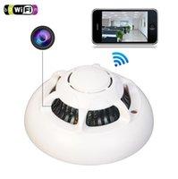 ev kameraları gizleme toptan satış-gizli bir Kablosuz Mini IP Kamera Duman Dedektörü HD 1080P Dadı Kamerası Motion ile Ev Güvenlik Gözetleme UFO video Aktive