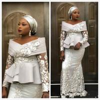 Wholesale peplum dress resale online - 2020 New Arabic Dubai Silver Mermaid Evening Dresses Off Shoulder Lace Appliques Peplum Long Sleeves Plus Size Celebrity Party Prom Gowns