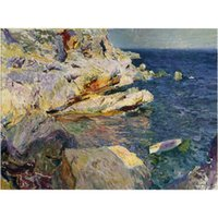Wholesale art panels for sale online - Wall Art Joaquin Sorolla y Bastida Oil Painting for sale Rocks and white boat Javea Hand painted home decor