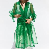 abrigo de mujer a medida al por mayor-Chaqueta de organza transparente Chaquetas de manga larga de moda para mujer Chaqueta de cuello elegante a medida para mujer EU01 Y190829