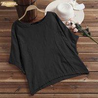beyaz yarasa kolları bluz toptan satış-Kadınlar 2019 Bluz Bat Kısa Kollu V Yaka Gevşek Yaz Feminina Günlük Gömlek blusas Çalışma Beyaz Femme Artı boyutu