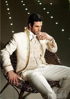 men ivory vest 도매-최신 최고의 판매 아이보리 신랑 턱시도 남자 댄스 파티 재킷 남성 웨딩 정장 신랑 정장 (재킷 + 바지 + 조끼 + 넥타이) XF206