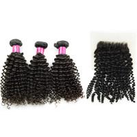 çince insan saç örgüsü toptan satış-Kinky kıvırcık Kamboçyalı Moğol Saç Dokuma ile 4x4 dantel üst Kapatma Jerry Curl Bakire Vietnamca Çin İnsan Saç 3 Paketler Boyanabilir