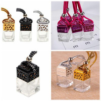 Wholesale car essential oil perfume resale online - Cube Car Perfume Bottle Car Hanging Perfume Rearview Ornament Air Freshener Essential Oils Diffuser Empty Glass Bottle CCA11097