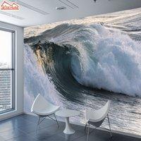 welle wand tapete großhandel-ShineHome-Large Sea Wallpaper für 3 d Wände Wohnzimmer Dinning Schlafzimmer Welle Seascape Tapete Wand-Papier-Haus Covering-Dekor
