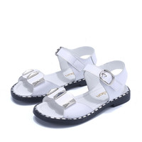 ingrosso sandali in pelle bianca per bambini-New Fashion Summer Children White Princess Sandali Neonate strass Flats Bambini Scarpe in vera pelle