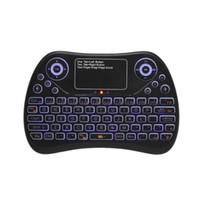 ordinateur portable qwerty achat en gros de-2,4 GHz Mini clavier sans fil tactile tapis de souris Combo RVB QWERTY Clavier rétro-éclairé pour Android TV Box Projecteur PC portable