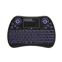 android keyboard qwerty touch großhandel-2,4-GHz-mini drahtlose Tastatur Touchpad Maus kombiniert RGB QWERTY-Tastatur mit Hintergrundbeleuchtung für Android TV Box Projektor PC Laptop