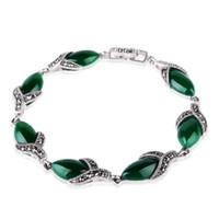 925 thailand großhandel-Jade Angel 925 Silber Thailand Vintage Armreif mit Grünem Achat Edlen Schmuck Design Armband Sterling Silber
