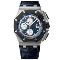 relojes de diseño mecánico al por mayor-Diseño del reloj maestro de reloj de lujo real de la serie del roble de 44 mm 26401 18 quilate reloj mecánico automático, anillo del reloj negro de los hombres de cerámica
