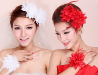 gelin çiçek tüyü toptan satış-Çiçek Tüy Boncuk Korsaj Saç Klipler Fascinator Gelin Hairband Parti GB623