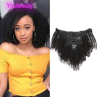 Wholesale clip kinky curly resale online - Malaysian Human Hair Afro Kinky Curly Clip In Hair Extensions Natural Color Ins g Curly Clip In Hair Products