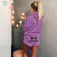 pyjamas chauds pour femmes achat en gros de-Femmes New Piece Suit Deux Corail Automne Hiver chaud Pyjama de nuit Meow Chat mignon Motif Hoodies Shorts Set de haute qualité