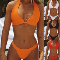 Wholesale new micro swimsuits resale online - Sexy White Bikini Set Push Up Swimsuit Female Micro High Cut Thongs Hollow Out Swimwear Women Solid Bathing Suit New