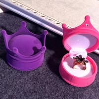 taç şeklindeki kutular toptan satış-Moda Düğün Hediye Kutusu Güzel Prenses Taç Şekilli Mücevher Kutusu Kozmetik Kutuları Saklama Kutuları 4 Renkler