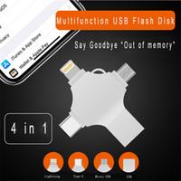 memória flash usb 64 venda por atacado-Ingelon Usb Flash 16 gb 32 gb 64 gb 128 gb Pendrive USB-C Tipo C criptografado LOGOTIPO DIY micro USB otg Memory Stick para telefones iphone ios
