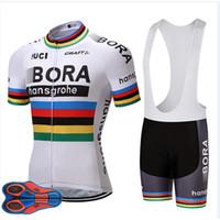 fahrrad trikot weiß groihandel-2018 Weiß Bora Cycling Team Jersey 9d Gel Pad Bike Shorts Ropa Ciclismo Herren Sommer Tour Radfahren Maillot Culotte Kleidung Set