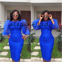 Wholesale sequined short dresses for sale - Royal blue Asoebi Short Prom Cocktail Dresses with Puffy Sleeve Jewel Neck African Lace Knee length Sheath Evening Wear Gowns