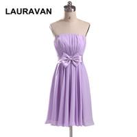 kısa askısız mor gelinlik elbiseleri toptan satış-Özel için partinin açık mor straplez artı boyutu nedime elbisesi kısa lavanta kızın lila nedime elbiseler