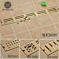 Wholesale floor drain odor for sale - Group buy Stainless Steel cm Tile Insert Rectangular Linear Anti Odor Floor Drain Bathroom Hardware Golden Shower Drain