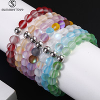 Wholesale frost beads resale online - 8mm Dull Polish Frosted Crystal Glass Flash Stone Bead Bracelet for Women Men Multicolor Moonstone Strand Beads Bracelet Fashion Jewelry