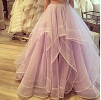 genç kadın parti elbiseleri toptan satış-2019 Prenses Etekler Yüksek Bel Katmanlı Tül Tutu Uzun Etekler Kadın Genç Bayanlar Kat Uzunluk Organze Homecoming Parti Elbiseler Giymek