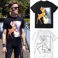 cerf t-shirt achat en gros de-Bambi Deer T Shirt Hommes Coton Imprimé 3D Coupe Slim Style T-shirt à manches longues Homme Noir / Blanc M-2XL