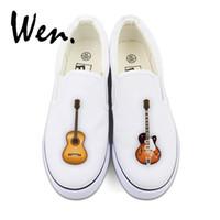 Wholesale low guitars resale online - Wen Men Low Top Lazy Slip on Shoes Musical Instrument Guitar Original Design Women Canvas Sneakers Platform Pedal Plimsolls