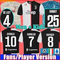 camisetas de uniforme al por mayor-Fans Jugador versión Juventus camiseta de fútbol chandal de la 2019 2020 soccer jersey RONALDO DE LIGT 19 20 uniformes RAMSEY DYBALA JUVE campeones liga hombres + kit de niños