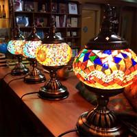 mesas de mosaico al por mayor-2016 El más nuevo E14 Mosaico de vidrio con incrustaciones de mano dormitorio sala de estar Lámparas de mesa decorativas de estilo turco Lámparas turcas