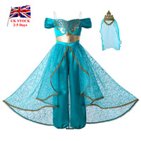 Wholesale costume summer for sale - Group buy Pettigirl New Aladdin s lamp Jasmine Princess Costume Cosplay Party Kids Clothes Girls Jumpsuit Costumes Golden Lace Crown G DMGD112 A265