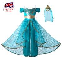 cosplay coroa venda por atacado-Pettigirl New Girl Princesa Cosplay Partido crianças roupas Meninas Macacão Costumes + Ouro Lace Crown G-DMGD112-A265