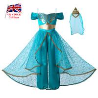 kızlar için prenses kronları toptan satış-Pettigirl Yeni Kız Prenses Kostüm Cosplay Parti Çocuk Giyim Kız Jumpsuit Kostümler + Altın Dantel Taç G-DMGD112-A265