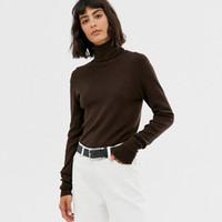 Frauen Brauner Turtleneck Pullover Online Großhandel