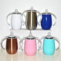 vidrio termo al por mayor-Sippy cup egg mug vaso para niños 9oz acero inoxidable aislamiento vacío doble pared agua leche termo de vidrio MMA2390