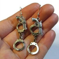 Wholesale ancient jewelry sale resale online - Alloy Ancient Silver Handcuffs Gun Charm Dangle Earrings Fashion Creative Women Jewelry Designer Earrings Hot Sale Best Friend Holiday Gifts