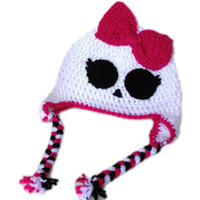 Wholesale Super Cool Ghost Hat with Bow Handmade Knit Crochet Baby Girl Halloween Costume Kids White Skull Cap Infant Newborn Photo Prop