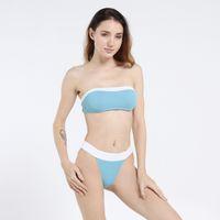 mavi bikini bandeau toptan satış-2019 Tanga Bikini Şınav Bandeau Patchwork Mayo Artı Boyutu Mayo Brezilyalı Kadın Mayo Kesip Mavi Beyaz
