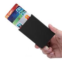 alüminyum kartvizitler toptan satış-Otomatik Kart Tutucu Kılıf Çanta Erkekler Pop Up Kartvizit Paketi Alüminyum Alaşım Taşınabilir Erkek Metal Pasaport KIMLIK Kartı Cüzdan